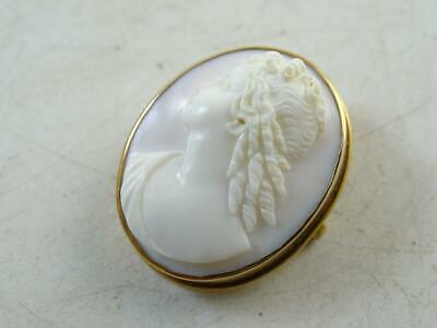 Antique Solid Yellow Gold Carved Shell Cameo Pin Brooch Art Nouveau Vintage Old