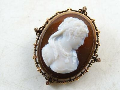 Antique Edwardian 14K Solid Rose Gold Layered Agate Stone Cameo Pin Brooch 1800s