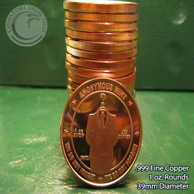 """""""Bitcoin Anonymous Mint"""" 1 oz .999 Copper 20 beautiful rounds 1 Roll in tube"""
