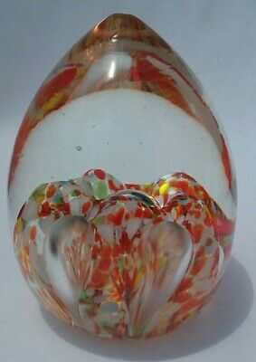 Stunning Vintage Estate Art Glass Paperweight Teardrop Egg Pearl in Clam design