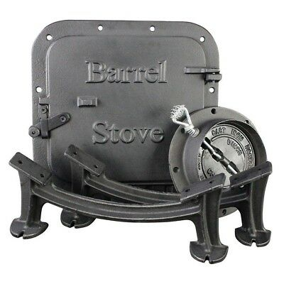 US Stove Co BSK1000 Cast Iron Barrel Wood Stove Kit for 30-55 Gallon Drums