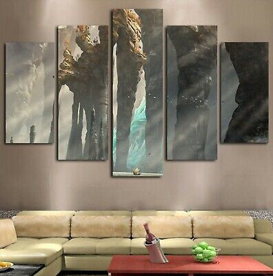 5Pc landscape Stone Pillers at Sea Canvas Wall Art Home Decor Framed USA Seller