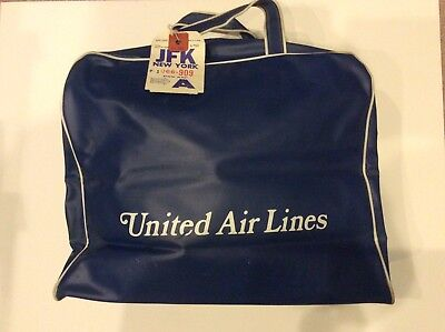 Vintage 1960's United Airlines Carry On Small Tote Travel Bag Pan Am Luggage Tag