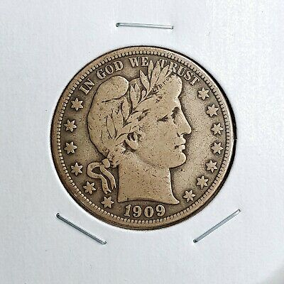 1909-S Barber Half Dollar - Great Looking Piece - Better Date - Tone
