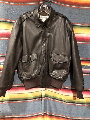 613ace612 VINTAGE LL BEAN Leather A2 Bomber Jacket Flying Tiger Men's 40 - R Made In  USA