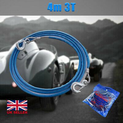 3 Tonne 4M Tow Recovery Hook Car Rope Wire Van Metal Truck Tough Pull Heavy Duty