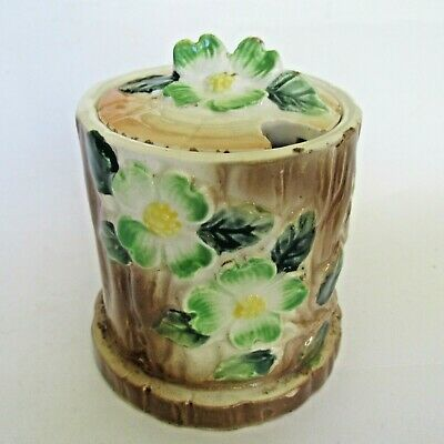 Vintage Ceramic Made in Japan Tree Trunk with Flowers Sugar Bowl