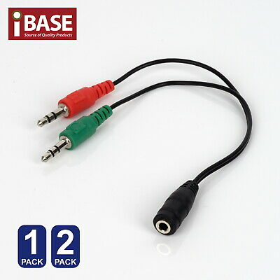 Audio Mic Splitter Cable 3.5mm Aux Headphone Microphone Adapter Female To 2 Male