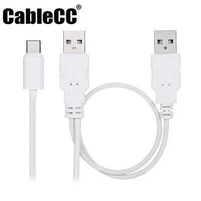 USB 2.0 A Male To A Male + USB 3.1 Type C Y Splitter Charging Data Sync Cable