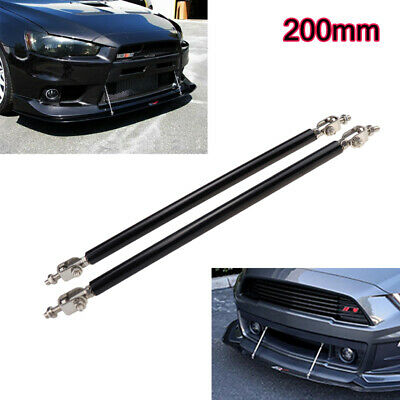 Black Adjustable Front Bumper Lip Splitter Strut Rod Tie Bars For Mustang 20cm