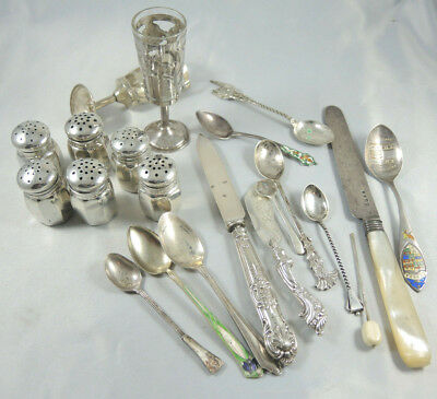 290gms Antique sterling silver scrap or use England Norway USA 1849-1950.
