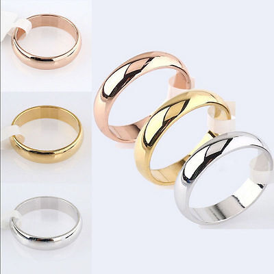 Men Women 4mm Gold Silver Band Ring Polished Wedding Stainless Steel Size 5-13