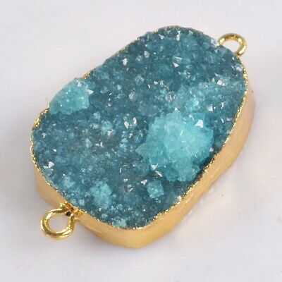 Blue Agate Druzy Geode Connector Gold Plated T075244