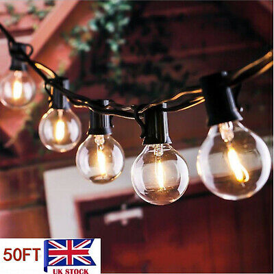 50FT G40 Globe String Festoon Lights 50 Clear Bulbs Indoor Outdoor Party Home UK