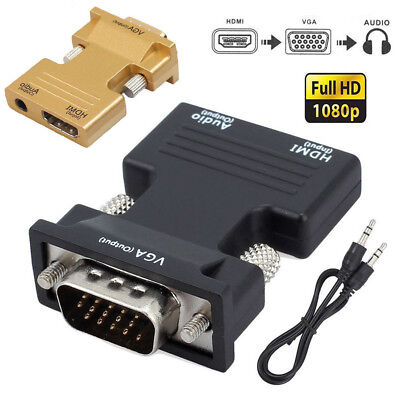 HD 1080P HDMI Female to VGA Male Adapter with 3.5mm Stereo Audio Cable Output AU