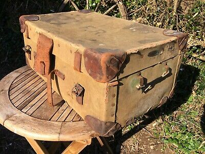 """Vintage Green Canvass Steamer Trunk Leather and Brass Fittings, Shabby Chic. 28"""""""