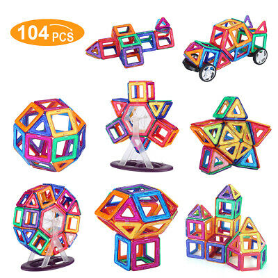 104PCS 3D Magnetic Building Tiles Kit Blocks Educational Toy For Kids Gifts US