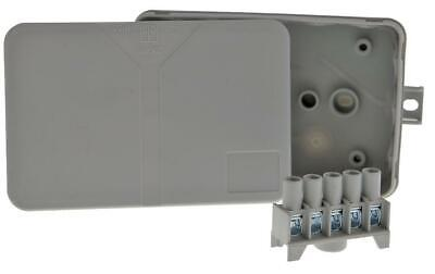 IP55 Junction Box Grey 5 Pole Screw Terminal 130x85x37mm Exterior Mounting Clip