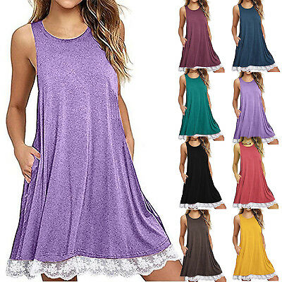 Womens Sleeveless Tops Vest Pocket Solid Mini Dress Beach Casual Swing Sundress
