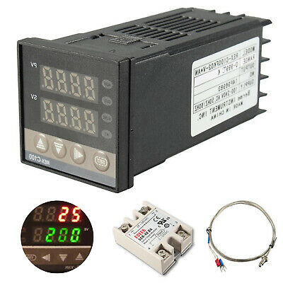 Digital PID REX-C100 Temperature Controller max.40A SSR K Thermocouple fit RT100