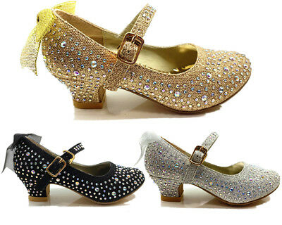New Kids Girls Glitter Wedding Bristal Smaid Diamante Bow Low Heel Party Shoes