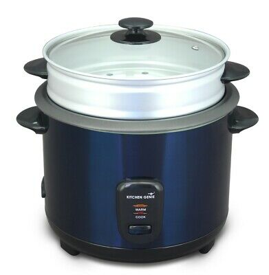 Kitchen Genie Deluxe Rice Cooker Steamer Glass Lid 10 Cup 1.8 Litre 650W In Blue