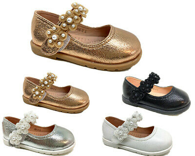 Kids Girls Flat Low Heel Children  Flower Studded Pearls Party Bridesmaid Shoes
