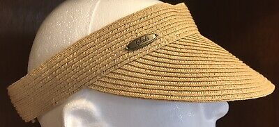 Scala Collection Sun Visor Womens Hat Natural Woven Straw Summer Beach Golf  Cap 710752dff257