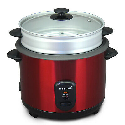 Kitchen Genie Deluxe Rice Cooker Steamer Glass Lid 10 Cup 1.8 Litre 650W In Red