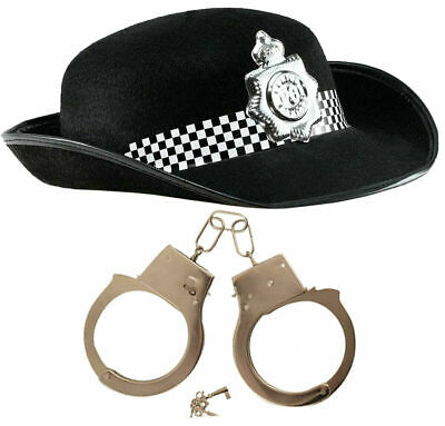 British WPC Police Cop Black Felt Hat with Metal Handcuffs Fancy Dress Set