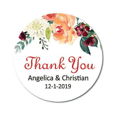 Darling Souvenir Floral Thank You Stickers Wedding Personalized Bride-DS-TY127