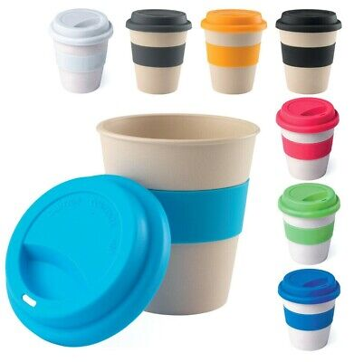 Reusable Bamboo Fibre Coffee Cups Eco Friendly Thermal Insulated Travel Mug Lid