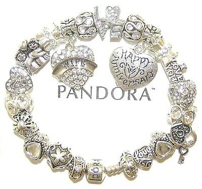 Authentic Pandora Silver Bracelet with WIFE ANNIVERSARY, LOVE European Charms
