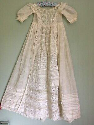 Antique Victorian Christening Gown  Embroidered & Lace With Matching Petticoat