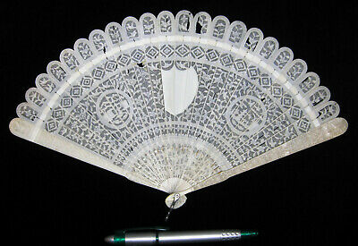 Fine Antique Chinese Canton Brise Export Fan Eventail 清朝 嘉慶帝 Qing Era ca. 1800