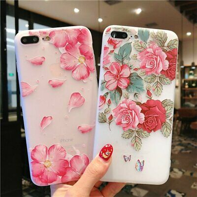 Pink Red Rose Flower Soft Silicone Case for iPhone 6 6S 7 8 X XS Plus C0073