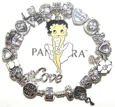 Authentic Pandora Bracelet Silver With BETTY BOOP WHITE, LOVE European Charms