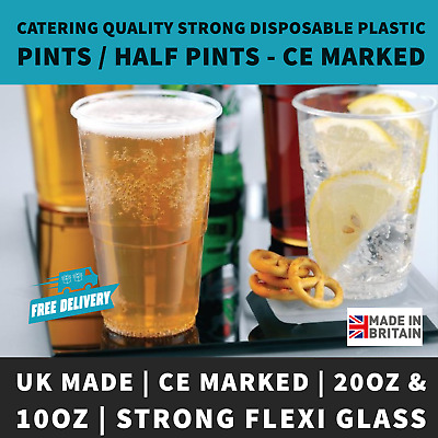 Clear Strong Plastic Pint / Half Pint Disposable Beer Glasses Cups Tumblers UK