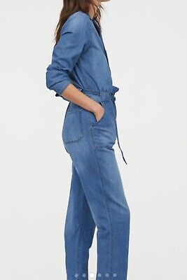 bca60f30c98 H M HM BLUE Denim Jumpsuit Overall Size 4 2019 Trend Concious SOLD OUT