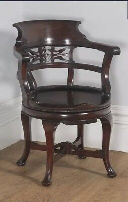 Antique English Victorian Mahogany Revolving Swivel Office Desk Captains Chair