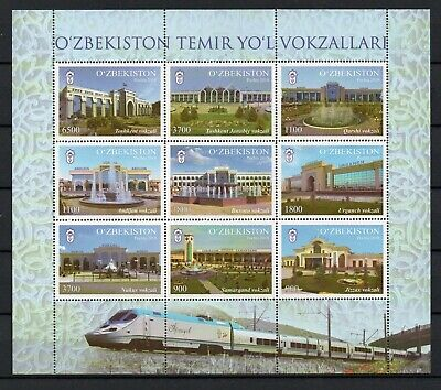 Uzbekistan 2018. Railway Stations. Train. Locomotive. MNH