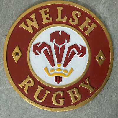 Wales Rugby Plaque Welsh Rugby Union Sign Cast Iron 24cm Hand Painted
