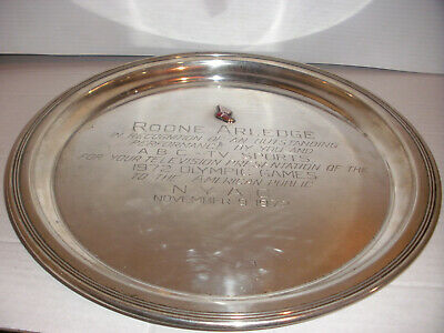 Unique sterling silver Gorham tray award Roone Arledge 1972 Olympic games Munich