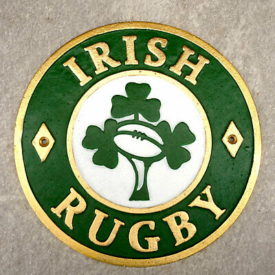 Ireland Rugby Plaque Irish Rugby Union Sign Cast Iron 24cm Wall Sign Handpainted