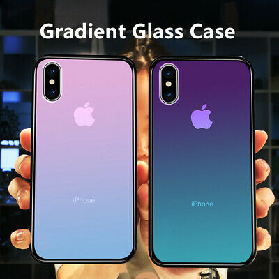 For Apple iPhone XS Max XR XS X 7 8 Plus Gradient Tempered Glass Back Case Cover