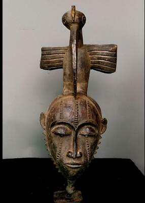 Old Tribal Baule  Mask With Bird    -- Coted'Ivoire