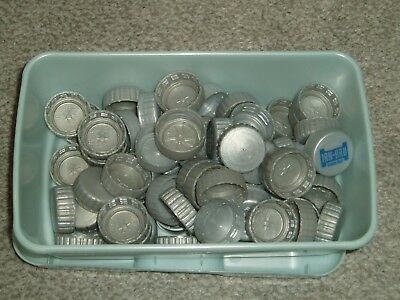 PLASTIC JUICE BOTTLE TOPS x 104 SILVER & WHITE ART/CRAFTS/SCHOOL / HOME PROJECTS
