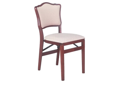 Vintage Folding Chair (Set of 2) Brown Wood Frame/ Upholstered Beige Seat Finish