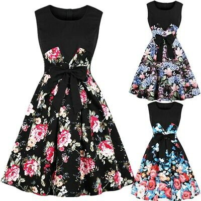 Womens 50s Style Vintage Floral Retro Rockabilly Evening Party Swing Dress 8-18