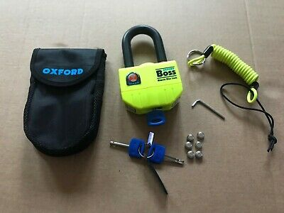 Oxford Boss Alarm Disc Lock 14MM Shackle Complete with 3 Keys Case Batteries